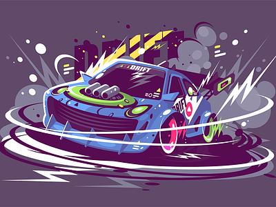 Racing sport car drifting track race drifting car sport racing power kit8 flat vector illustration