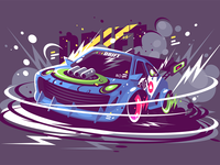 Racing sport car drifting