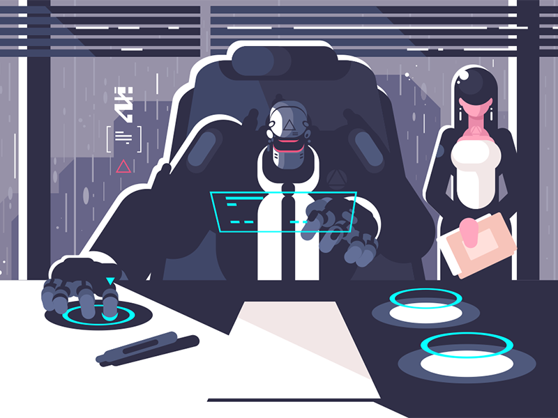 Robot boss with woman secretary character cyborg droid office secretary woman boss robot kit8 flat vector illustration