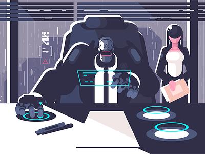 Robot boss with woman secretary character cyborg droid office secretary woman boss robot kit8 flat vector illustration