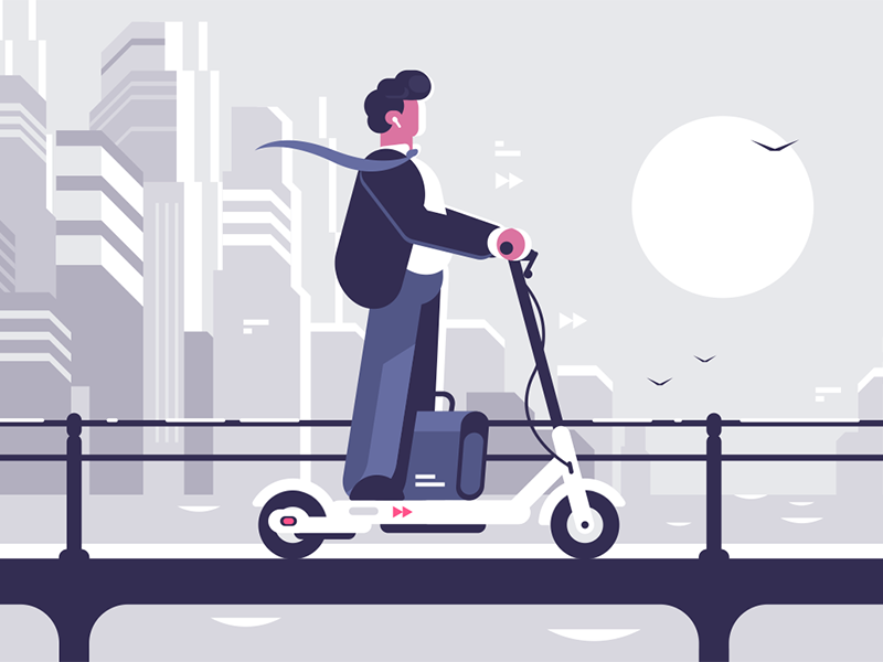 Young man riding electric scooter character transport cityscape scooter electric riding man young kit8 flat vector illustration