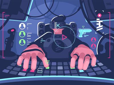 Professional computer gamer person character glasses man gamer computer reality virtual professional kit8 flat vector illustration