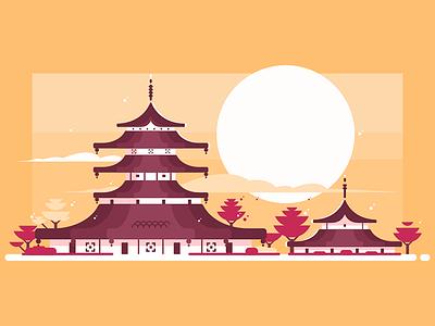 Traditional Japanese house background sunset pagoda chinese architecture asian house japanese traditional kit8 flat vector illustration