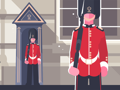 British royal guardsman character soldier guardsman royal british kit8 flat vector illustration