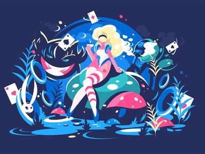 Alice sitting in Wonderland
