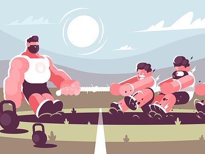 Tug of war character athlete leadership muscular strong battle tug competing man powerful kit8 flat vector illustration
