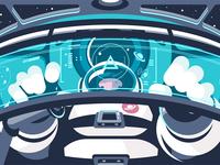 Astronaut in capsule