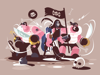 Group of mad pirates