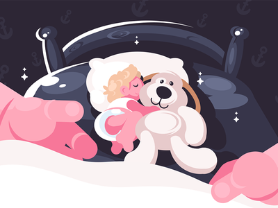 Baby sleeping in crib with toy character children little hand toy crib sleeping baby kit8 flat vector illustration