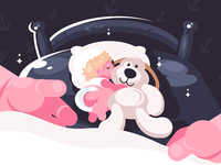 Baby sleeping in crib with toy