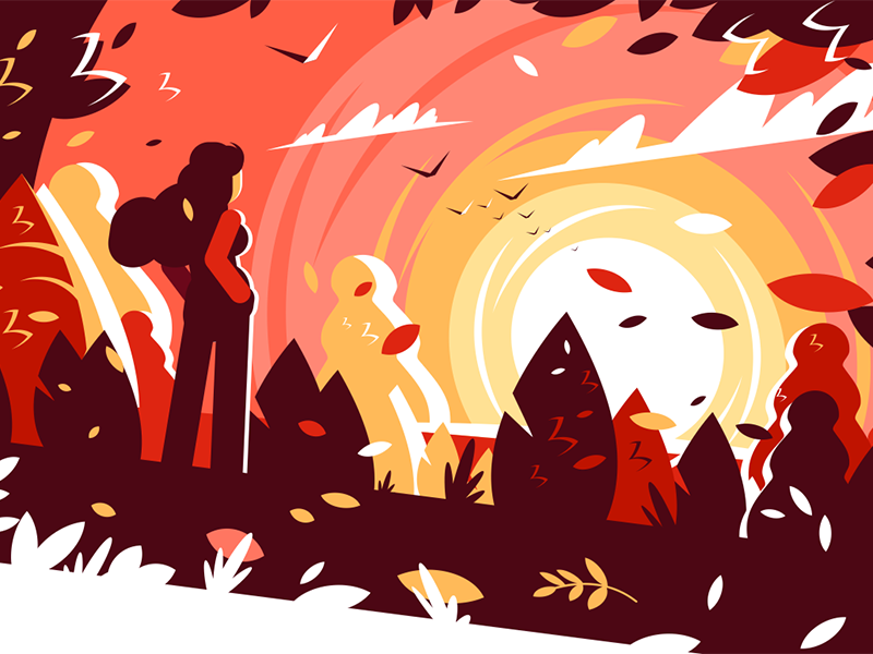 Woman looking sunset autumn character girl background landscape autumn sunset looking woman kit8 flat vector illustration