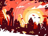 Woman looking sunset autumn