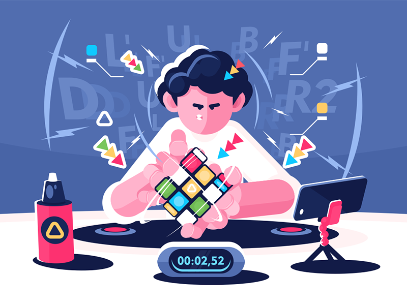 Man collect Rubik Cube character player championship timer cube rubik collect man kit8 flat vector illustration