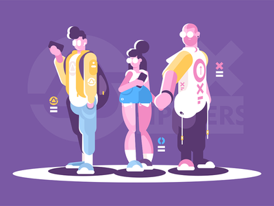 People hipster standing together character woman man together standing style fashion hipster people kit8 flat vector illustration