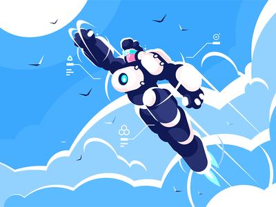 Flying Spacesuit Kit8 Net character costume robot sky flying spacesuit hero super astronaut man kit8 flat vector illustration