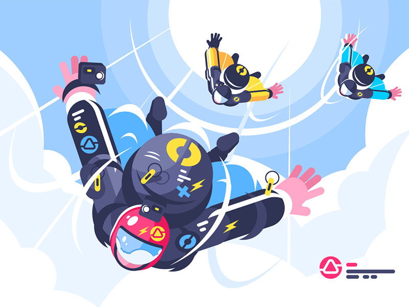 Skydivers group character cloud fall free flying group skydiver kit8 flat vector illustration