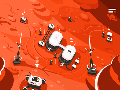 Mars planet station orbit base character space expedition base orbit station planet mars kit8 flat vector illustration