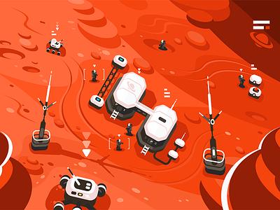 Mars planet station orbit base character space expedition base orbit station planet mars kit8 flat vector illustration