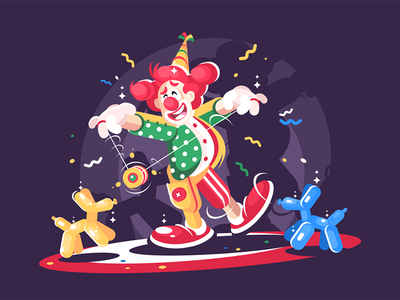 Circus show with cute clown character comedian animals balloon clown show circus kit8 flat vector illustration