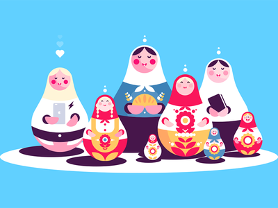 Russian nesting dolls collection character souvenir matryoshka wooden collection doll nesting traditional russian kit8 flat vector illustration