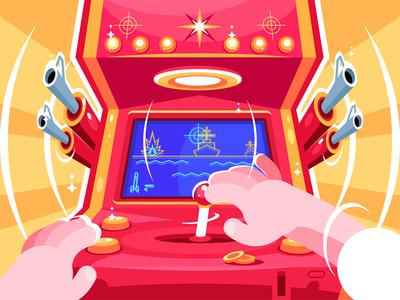 Sea battle arcade video game character machine slot game video arcade battle sea playing gamer kit8 flat vector illustration