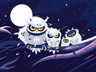 Owls sitting on branch character night darkness moon branch sitting owl kit8 flat vector illustration