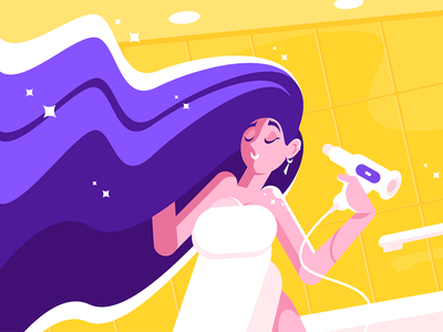 Girl with long hair blowing dry character hairdrier bathroom woman dry blowing hair long girl kit8 flat vector illustration
