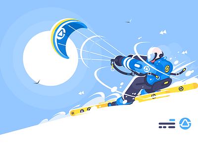 Boy snowkiter on alpine skiing character man skiing alpine snowkiter boy sport kit8 flat vector illustration