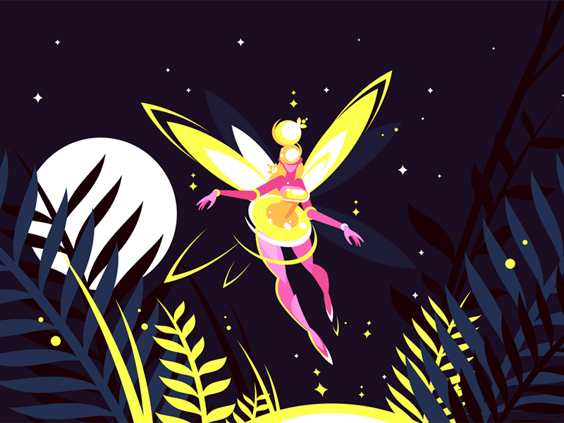 Fairy flying in night forest character moon stars sky forest night flying fairy kit8 flat vector illustration