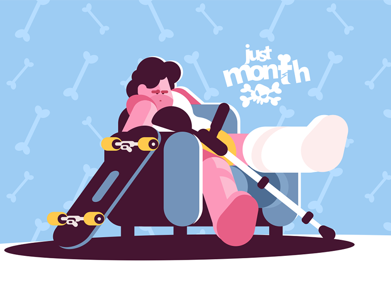 Teenage boy skater broken leg kit8 flat vector illustration character gypsum crutches man leg broken skate boy teenage