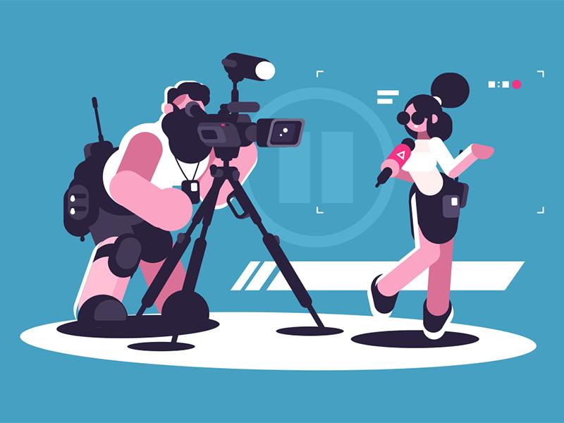 Journalist and cameraman character man camera microphone girl report cameraman journalist kit8 flat vector illustration