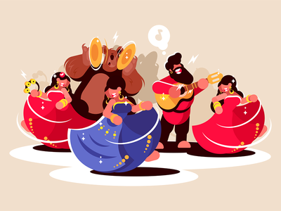 Gypsy ensemble dancing character bear man women instruments playing dancing ensemble gypsy kit8 flat vector illustration