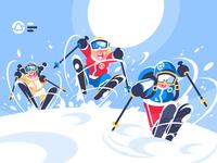 Happy children skiing