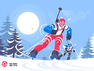 Biathlon race skiing man character sport olympic winter athlete man skiing race biathlon kit8 flat vector illustration