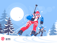 Biathlon race skiing man