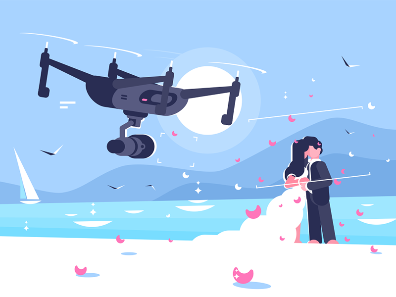 Shooting drone over wedding character newlyweds camera quadcopter flying wedding drone shooting kit8 flat vector illustration
