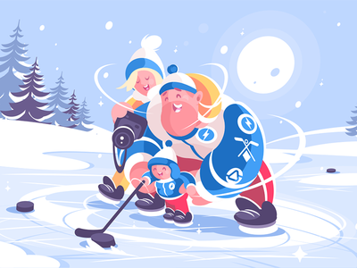 Family playing in hockey character sport winter ice kid dad mom hockey playing family kit8 flat vector illustration