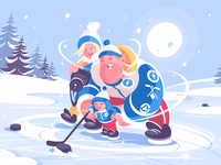Family playing in hockey