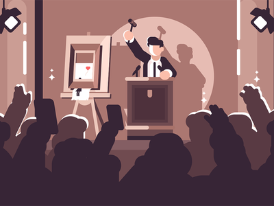 People at auction of art character bidding picture gavel man art auction people kit8 flat vector illustration