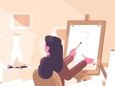 Girl in art school character hobby brushes paint easel woman artist school art girl kit8 flat vector illustration
