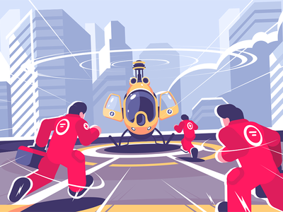 Yellow rescue helicopter and team character uniform men roof team helicopter rescue kit8 flat vector illustration
