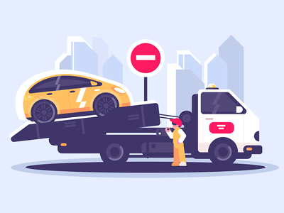 Tow truck service evacuator character sign car worker evacuator service assistance road truck tow kit8 flat vector illustration