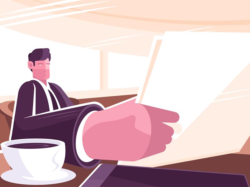 Businessman reading news character coffee man press newspaper reading businessman kit8 flat vector illustration