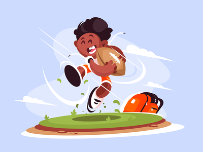 Little boy playing rugby outside character sport ball rugby playing boy little kit8 flat vector illustration
