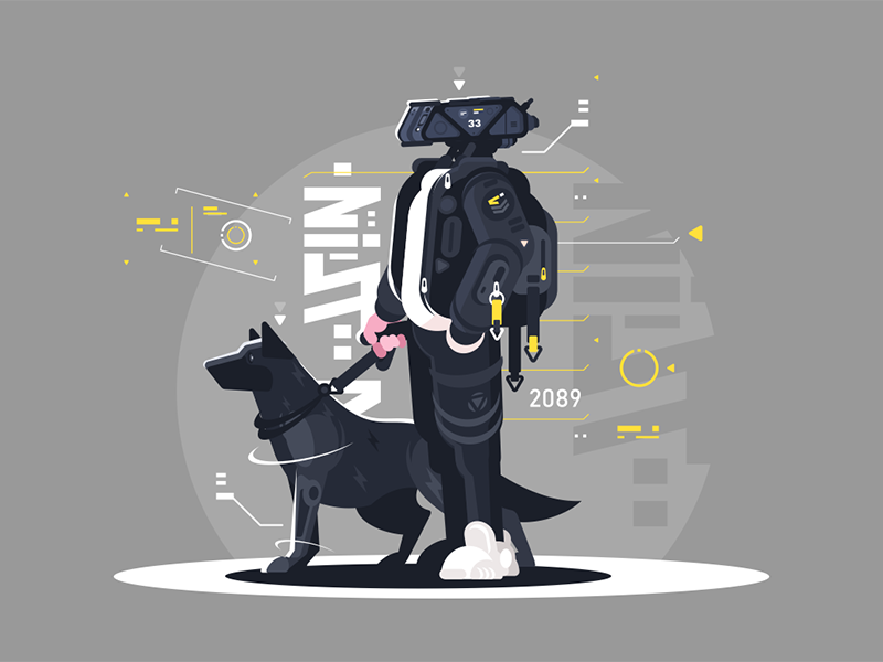 Drone dude walking with dog character robot dog walking dude drone kit8 flat vector illustration
