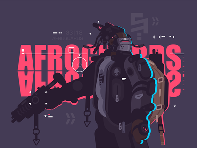 Drone dude afro guard with weapon character robot weapon backpack guard afro dude drone kit8 flat vector illustration