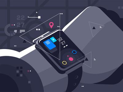 Modern smart watch on male hand display device hand male watch smart modern kit8 flat vector illustration