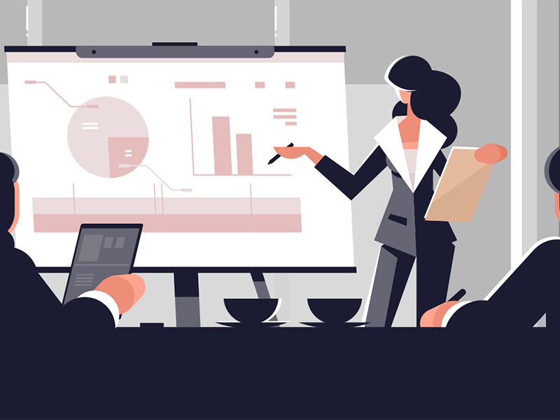 Woman making presentation character board explaining presentation suit business woman young kit8 flat vector illustration