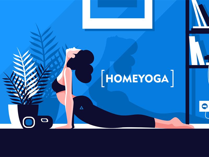 Flexible girl doing yoga at home character home yoga girl flexible beautiful young kit8 flat vector illustration