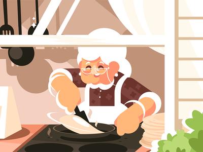 Grandma in kitchen cooking dinner